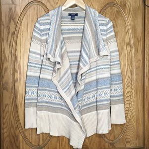 CHAPS BOHO PRINT OPEN FRONT KNIT CARDIGAN SMALL